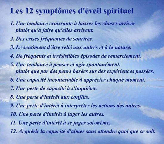 les 12 symptomes d'eveil spirituel